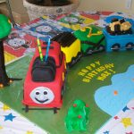 Colorful train birthday cake for child birthday party