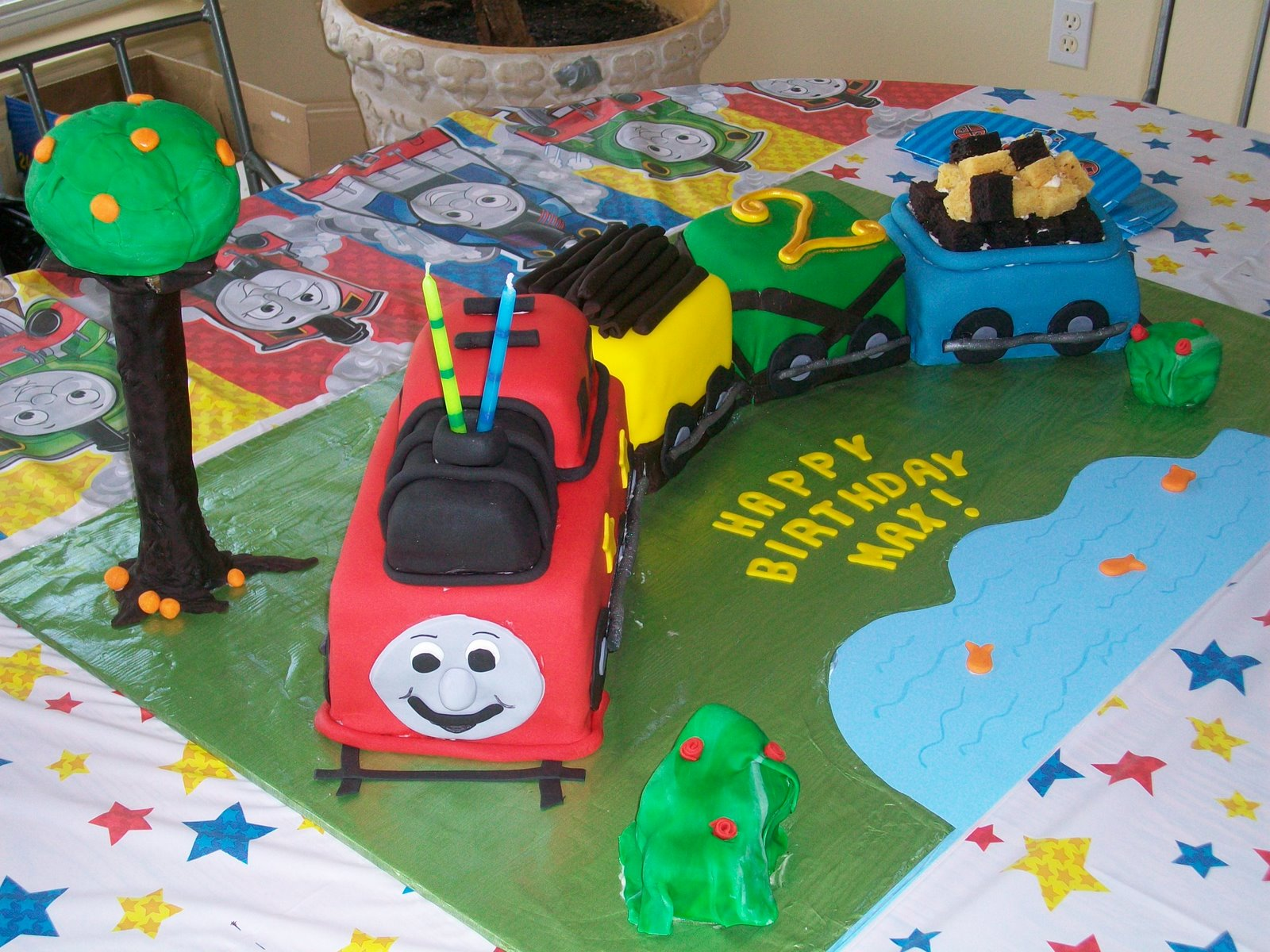 Colorful Train Birthday Cake For Child Party