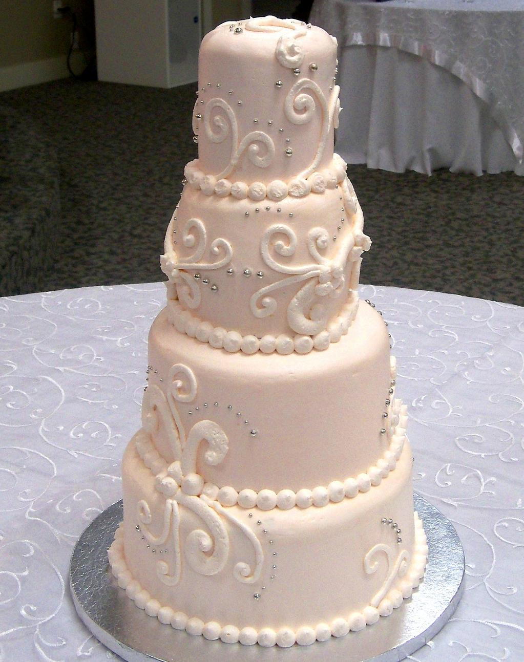 pink scroll wedding cake – haute cakes austin